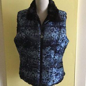 Jackets & Blazers - Blue floral reversible vest SZ L
